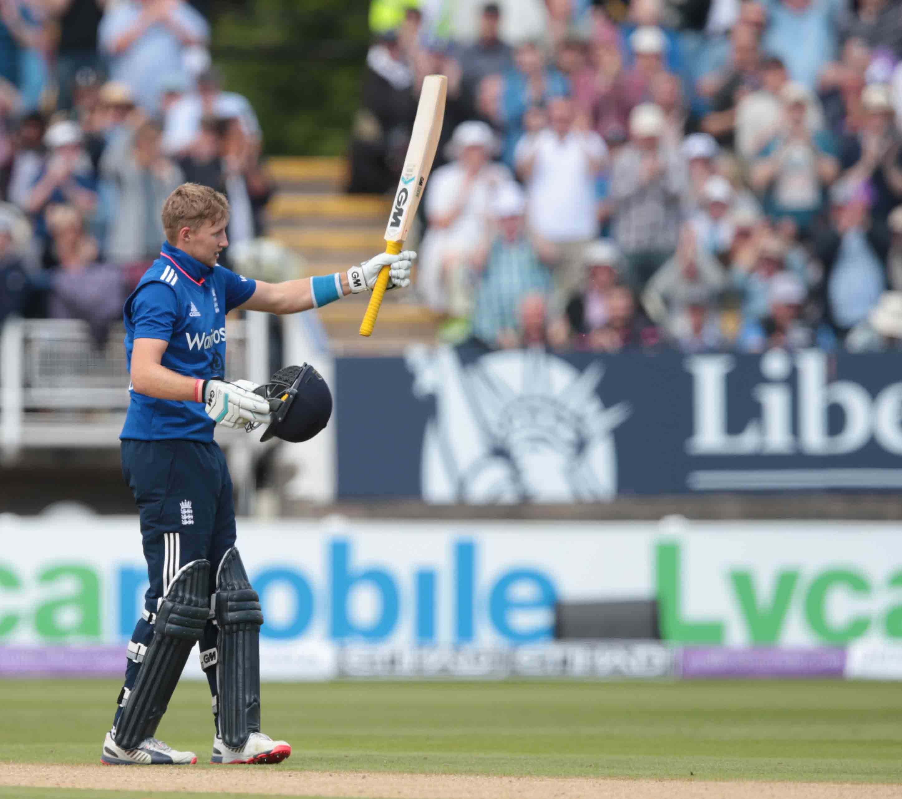Joe Root of England celebrates his 100 during the Royal London One Day Series match at Edgbaston, Birmingham Picture by Michael Whitefoot/Focus Images Ltd 07969 898192 09/06/2015